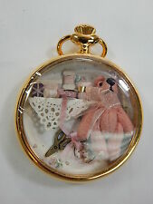 Collectible Artist Hand Made  Miniature Bear in Gold Watch Case #1062A