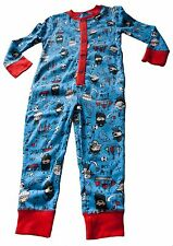 Boys All in One Pyjamas Nightwear Pjs NEW Pirates Blue Size Ages 4-5 Years
