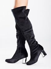 New Womens Over The Knee Block Low Heel Ladies Stretch Leg Thigh High Boots 3-7
