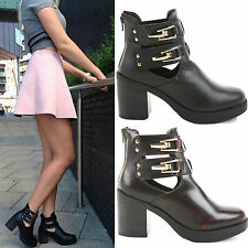 LADIES WOMENS PLATFORM CHELSEA CHUNKY MID HIGH BLOCK HEEL ANKLE BOOTS SHOES SIZE