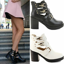 LADIES WOMENS CHELSEA PLATFORM CHUNKY MID HIGH BLOCK HEEL ANKLE BOOTS SHOES SIZE