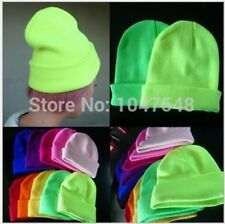 Fashion Knitted Neon wool Hat Women Beanie Girls Cap Men Warm Winter Skullies