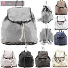 WOMENS NEW ON TREND CHAIN TRIM FAUX LEATHER RUCKSACK BACKPACK