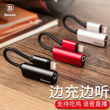Baseus 2x Lightning to 3.5mm Jack 2in1 Earphone Charger Adapter For iPhone 7 8 X