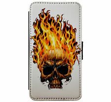 Flaming Skull Fire Goth Metal Emo Leather Phone case wallet for iPhone & Samsung