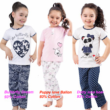 Girls Summer Pyjamas Kids Toddlers short sleeved  93% cotton Pjs 3 to 10 Years