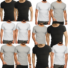 Mens 2 x Pack Raiken Ribbed Slim Fit Crew Neck Cotton Jersey T-Shirt Size