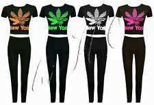 New Women Ladies New York Printed Short Sleeves Full Tracksuit Jogger Size 6-14