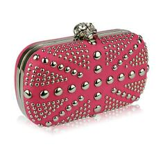 135-Pink Studded Clutch Bag With Crystal-Encrusted Skull Clasp