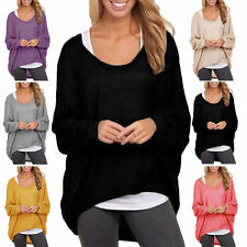 Womens Oversized Loose Long Sleeve Shirt Tops Batwing Jumper Ladies Baggy Blouse