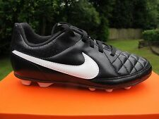NIKE TIEMPO RIO II FG -R JNR Football Boots moulded firm BLACK WHITE UK 3