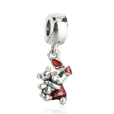 authentic 925 Sterling Silver Cerise Enamel Piglet Pendant Charm genuine charms