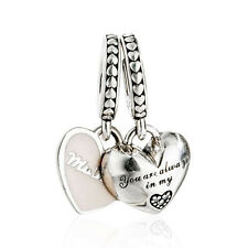 Original 925 Sterling Silver Beads Enamel Mother & Daughter Hearts Pendant Charm