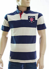 RUCKFIELD CHABAL Polo RUGBY manches courtes rayé bleu marine écru homme taille M