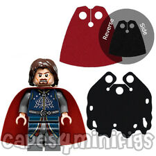 2 CUSTOM capes for Lego Lord of the Rings minifig eg Aragorn black / red cape