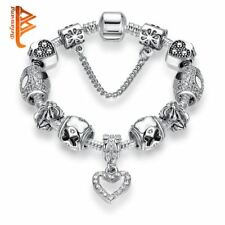 Fashion Women gift Bracelet Silver Plated Charm DIY Beads safety chain