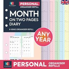 2018 Month on two pages  FILOFAX A5 / PERSONAL Compatible Refill Planner