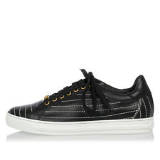VERSACE Nuova Scarpa Sneakers Donna Nera Pelle ricamo Logo Made in Italy