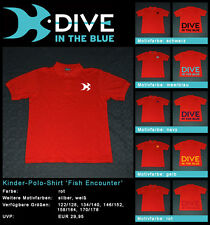 Kinder-Polo-Shirt 'Fish Encounter' by Dive in the Blue – Shirtfarbe: rot