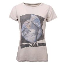 C3268 maglia donna DUEPERUNO grigio used vintage effect t-shirt woman