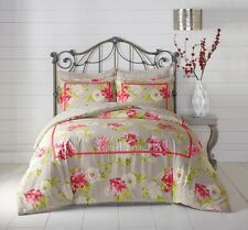 100% Cotton Grey Pink Floral Comforter Sham 3 pcs King Queen Bedding set