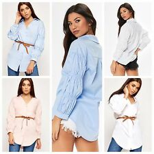 Long Rushed Gathered Sleeve Gingham Belted Open Collar Button Shirt Dress Blouse