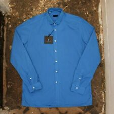 New Mens Lanvin Overdyed Blue Shirt With Gros Grain Collar BNWT RRP £245