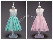 Flower Girls Lace Formal Wedding Bridesmaid Princess Prom Birthday Party Dresses