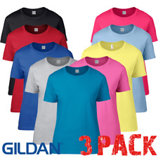 3 x  Gildan LADIES T-SHIRT SEMI FITTED LOOSE PREMIUM COTTON TSHIRTS TOPS 3 PACK