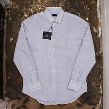 New Mens Lanvin Fitted Blue Check Shirt With Small Collar Size 42 BNWT RRP £200