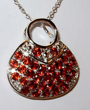"2.56CTW GENUINE RED GARNET HANDBAG PURSE PENDANT 18"" NECKLACE RHODIUM STERLING"