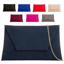 Ladies Faux Suede Envelope Clutch Bag Slimline Evening Bag Handbag Purse KL683