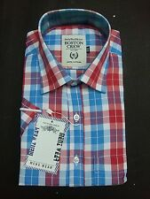 Gents / Mens Quality Formal Shirt ( Red Blue Checked) 56