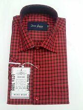 Gents / Mens Quality Formal Shirt ( Dark Red Checked) 58