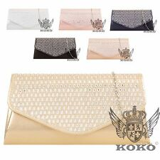 Ladies Glittery Gem Clutch Bag Metallic Evening Bag Prom Purse Handbag KH836
