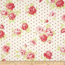 100/% Cotton Poplin Fabric by Fabric Freedom Roses On Polka Dots With Stems