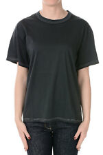 GOLDEN GOOSE Women Black Cotton T-Shirt with Logo Made in Italy NWT