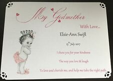 PERSONALISED THANK YOU GODPARENT CARD, GODMOTHER, GODFATHER, GODPARENT GIFT