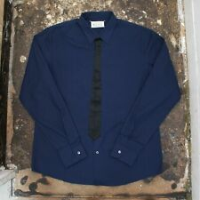 NEW Maison Martin Margiela Navy Blue Shirt With Faux Tie Detail Size 56 BNWT