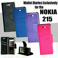 Diary Folio Flip Flap Cover Case For Nokia 215