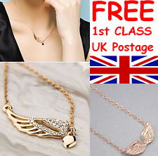 ANGEL WING DIAMANTE RHINESTONE OR ANGEL WINGS GOLD TONE PENDANT NECKLACE