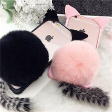 3D Cute Pussy Cat Ear Tail Soft TPU+PC Case With Furry Ball Back Cover iPhone 7