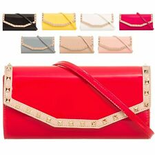 Ladies Patent Studded Clutch Bag Envelope Evening Bag Party Handbag Purse KL875