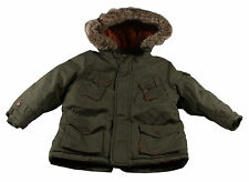Boys Parka Coat Jacket New Winter Warm Khaki Padded Faux Fur Hooded Ages 18M-3Y