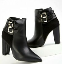 Womens Black Ankle Boots Zipper Stiletto High Heels Pointed Toe Shoes Size 3-8