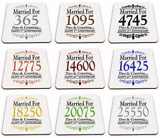 Pair of Married For...Days & Counting... (1st - 70th) Glossy Mug Coasters