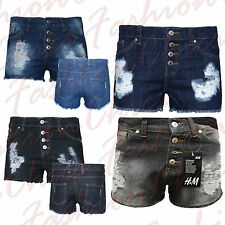 Women's Girls High Waisted Hot Pants Shorts In Washed Denim & Ripped Cotton 8-16