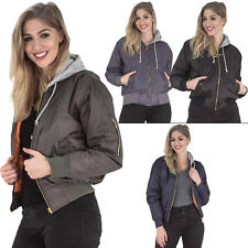 New Womens Hooded Quilted Vintage MA1 Classic Bomber Casual Jacket Size 8 10 14