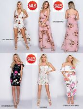 Embroidered Floral Frill Mini Dress Cami Tie Back Maxi With Shorts Slit Trouser