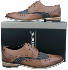 Mens New Burnished Brown Leather Formal Brogues Shoes Sizes 6 7 8 9 10 11 12